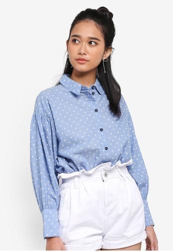TOPSHOP blue Chambray Star Printed Shirt 3E877AAF6B43F0GS_1