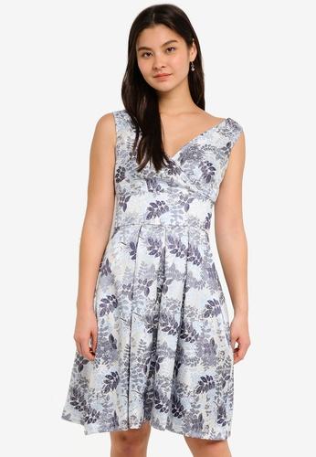 Dorothy Perkins white Blue Jacquard Prom Dress DFB36AAB04D89AGS_1