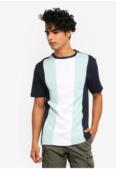 877885d79 River Island navy Slim Fit Vertical Colour Block T-Shirt 01AD5AA0A8C3D0GS_1