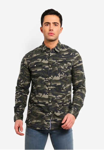 62b06f89abd2ab Buy OVS Cotton Casual Camouflage Shirt Online on ZALORA Singapore
