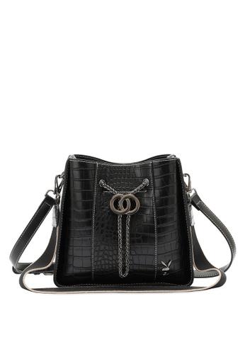PLAYBOY BUNNY black Croc Effect Slouch Sling Bag 87949ACE6870E5GS_1