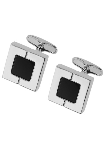 CUFF IT black Silver Half Divided Square Cufflinks CU047AC2VXR0HK_1