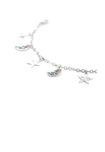 Glamorousky multi Fantasic Star and Moon Anklet with multi-color Austrian Element Crystals D233FAC3A6D475GS_1