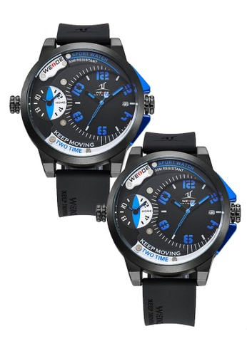 Weide blue Bundle 2 Units Weide Uv1501 Men's Dual Time Zone Universe Series Watch- Blue WE079AC0RQN3MY_1