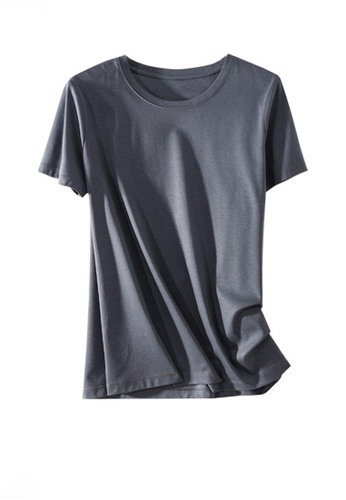 Twenty Eight Shoes grey VANSA Round Neck Mercerized Cotton Short-sleeved T-Shirt VCW-Ts1902U F9E3EAA0E8F2A3GS_1