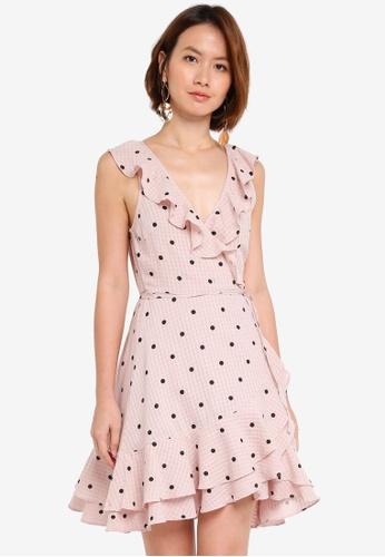 INDIKAH pink Surplice Ruffle Hem Polka Dot Dress 9017AAA840CEA6GS_1