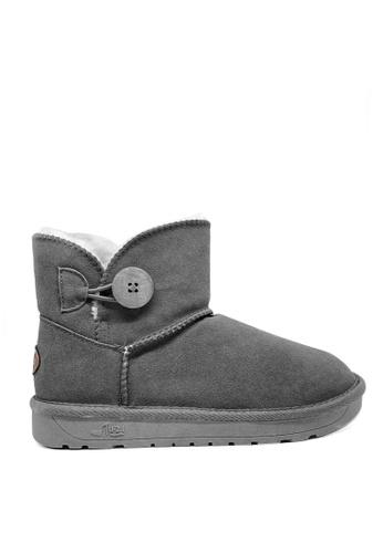 Twenty Eight Shoes 灰色 真皮短桶圓鈕雪地靴UUD04 22449SH41B718DGS_1