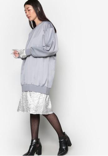 esprit台灣門市韓系時尚假兩件亮質連身裙, 服飾, 洋裝