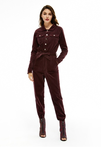 London Rag red Bow Tie Velvet Jumpsuit 06B3DAAA81F145GS_1