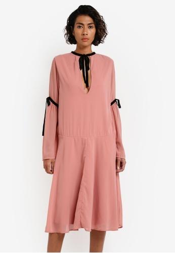 Vero Moda pink VMSHAKES L/S BOW DRESS NFS VE975AA0RRHUMY_1