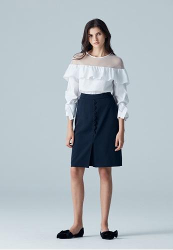 iROO blue Pencil Skirt F4E72AA3A7DD4EGS_1