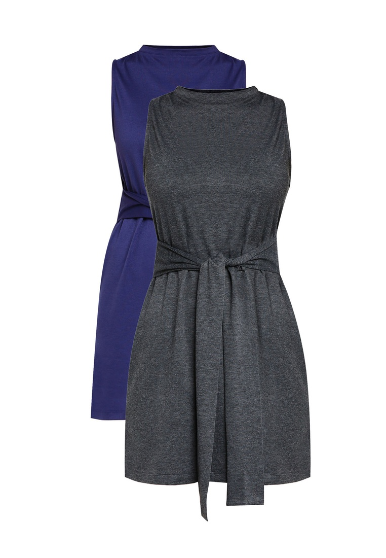 Grey pack Basic Waist Tie ZALORA Dress Navy 2 Mini Marl BASICS 8RqTwf