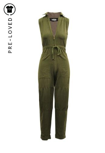 Reformation green Pre-Loved reformation Wide Legs Sleeveless Khaki Jumpsuit 93487AA19DA4BFGS_1