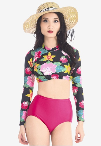 PINK N' PROPER pink and multi Beulah Long Sleeved High Waist Swimsuit Set PI108US95ZWMMY_1