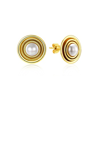 Glamorousky white 925 Sterling Silver Gold Plated Elegant Fashion Round Pearl Earrings and Ear Studs 718D2ACF044680GS_1