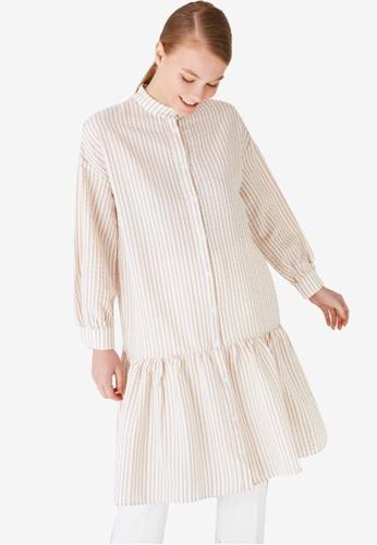 Trendyol 米褐色 Peplum Tunic 襯衫 5B4BAAA343E652GS_1