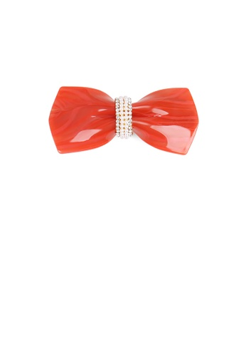 Glamorousky white Fashion and Simple Red Ribbon Hair Slide with Cubic Zirconia and Imitation Pearl 7951DAC9C81867GS_1