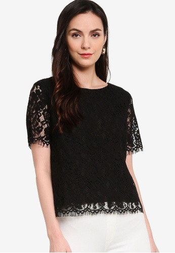ZALORA WORK black Short Sleeves Lace Top CC671AA225484AGS_1