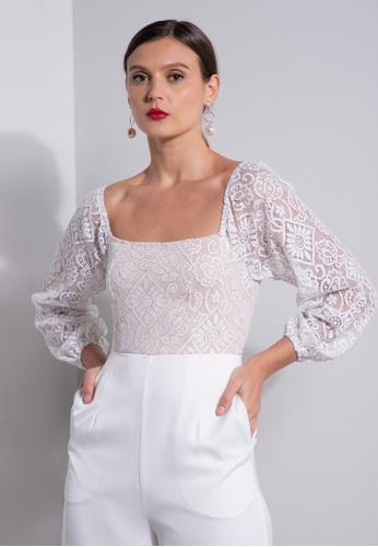 ZALORA OCCASION white Lace Bodice Jumpsuit 6BBDEAAE493B95GS_1
