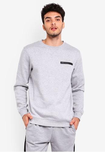 Factorie grey Chest Zip Crew Sweatshirt FE506AA77BE068GS_1