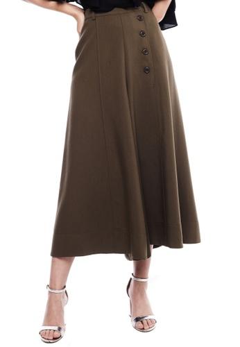 Nichii green Side Button Culottes B2862AA6A4DDF5GS_1