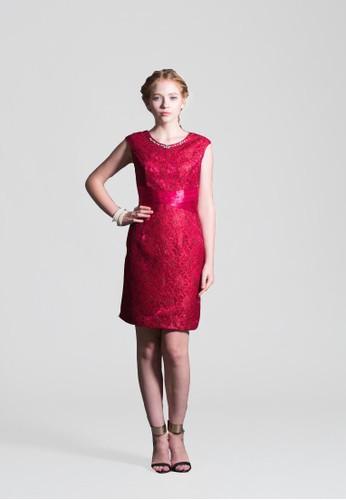 英國esprit 工作貴婦桃型領小包袖交叉腰版蕾絲花直筒短禮服, 服飾, 短洋裝