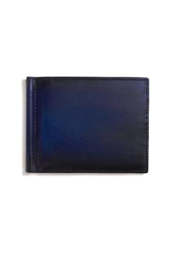 Crudo Leather Craft blue Raffinato Money Clip Wallet - Vintage Blue 50D40AC92922F4GS_1