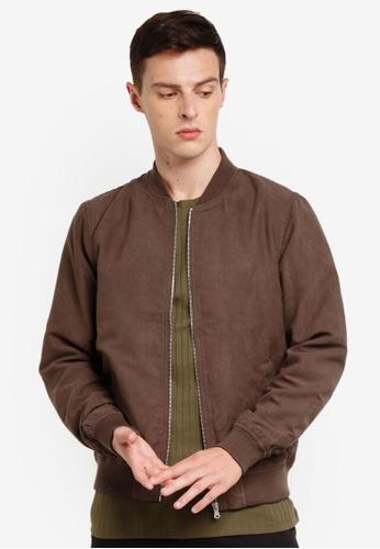 Burton Menswear London 褐色 麂皮飛行外套 BE5D1AACF5AEFCGS_1