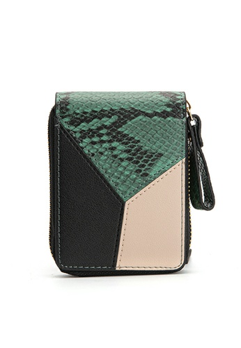 HAPPY FRIDAYS Color Matching Snake Texture Leather Wallet JN8622 500A9ACA534DF9GS_1