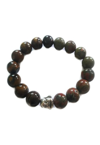 Be Lucky Charms Brown And Green Silver Feng Shui Tiger Eye Unakite With Laughing Buddha