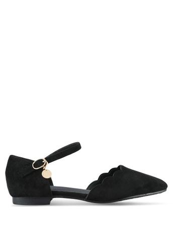 Twenty Eight Shoes black Ankle Strap Velvet Ballet Flats TW281SH0RLUDMY_1