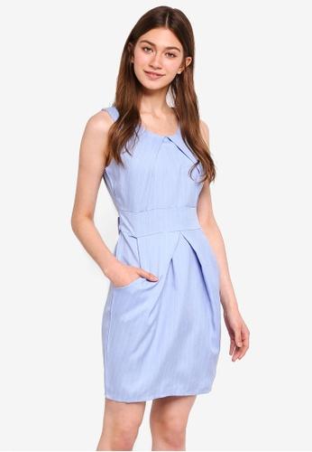Mela London blue Striped Tulip Dress D246CAA9BB72A3GS_1