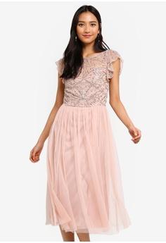 228aa4524 Frock and Frill pink Georgette Embellished Midi Dress 73CBFAA5B4700BGS 1