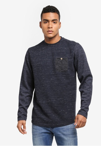 Indicode Jeans navy EMRE Ribbed Pocket Sweater 325ABAAAE977E1GS_1