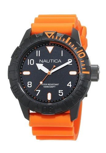 NAUTICA orange Nautica Jam Tangan Pria - Black Orange - Rubber - NAD10082G NA209AC0V5Y0ID_1