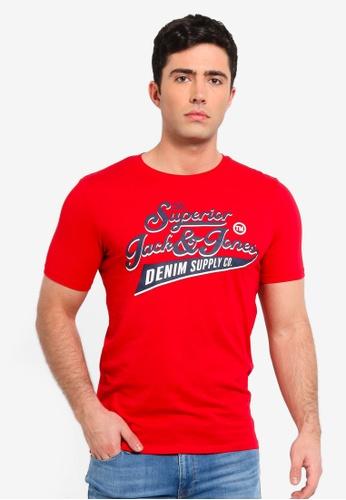 Jack & Jones 紅色 LOGO圓領短袖T恤 9CF11AA60E3E90GS_1