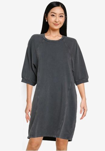 Noisy May black Daria Short Sweat Dress 56C08AA34A4E96GS_1