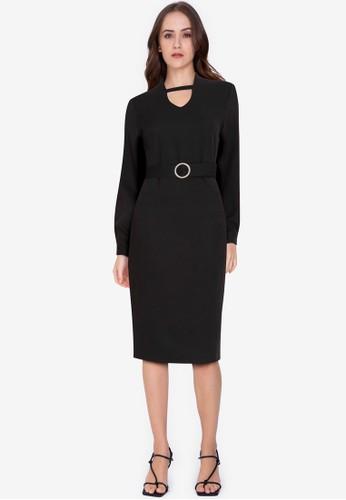 ZALORA WORK black Long Sleeve Dress With Buckle B73D0AA01386E8GS_1