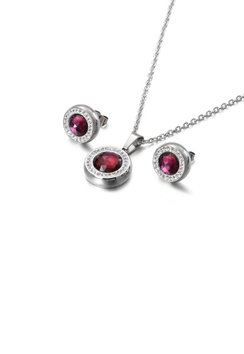 Glamorousky white Fashion Simple Geometric Round 316L Stainless Steel Necklace and Stud Earring Set with Purple Cubic Zirconia EF7E8ACA671D49GS_1