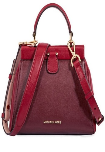 Michael Kors pink Michael Kors Gramercy Colour-Blocked Leather Satchel - Oxblood/Soft Pink 30F8GZ6S1T-921 8666BAC7FBAE5AGS_1