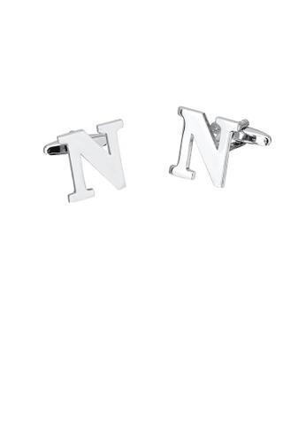 Glamorousky silver Simple Personality English Alphabet N Cufflinks 1007BAC0F40FE8GS_1