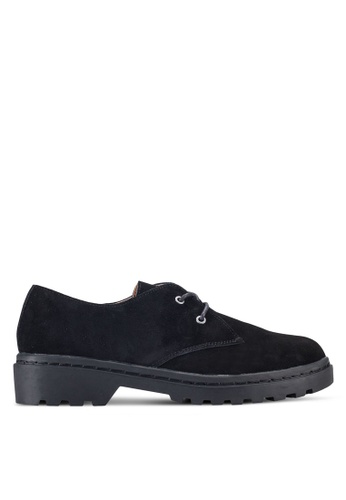 TOPSHOP black Fine Suede Lace Up Shoes TO412SH34GYNMY_1