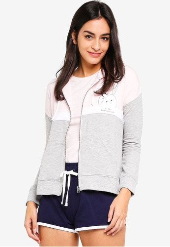 6IXTY8IGHT grey 'It's All Good In The' Colour-Block Hoodie 4BEF2AA3DBC0F9GS_1