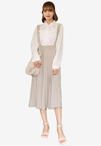 Tokichoi beige Pleated Suspender Skirt 52FB0AA8AC7076GS_1