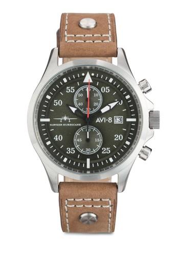 Hawker Hurricane 多功能京站 esprit計時皮革手錶, 錶類, 飾品配件