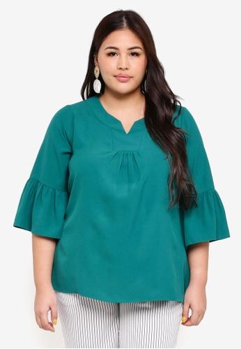 Ex'otico green Plus Size 3/4 Sleeve Round Neck Blouse 21379AA97AAE81GS_1