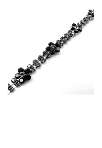 Glamorousky black Elegant Flower Bracelet with Black Austrian Element Crystal 3ECFDAC2081290GS_1