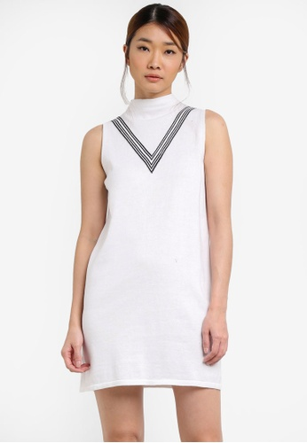Something Borrowed white Knitted Shift Dress With Stripes A93F9AA70D7E3AGS_1