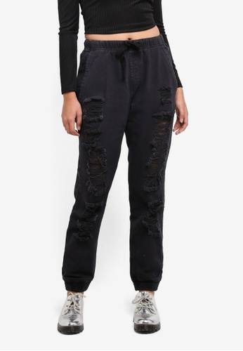 Supre black The Jogger Ultra Distressed Jeans 839C8AA56793C4GS_1