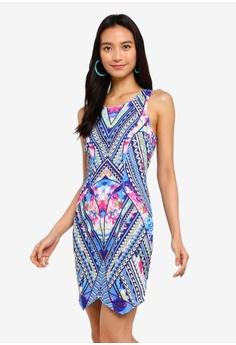 0e5de239453f50 INDIKAH blue Digital Print Bodycon Dress 58BD7AAB932306GS 1